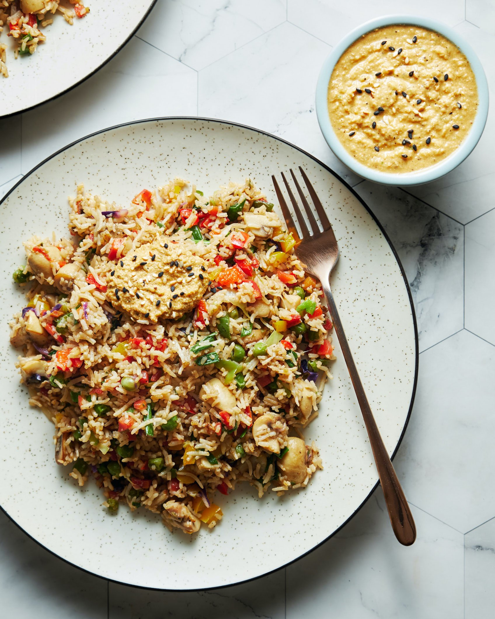 Rainbow Rice w/Tomato-Sesame Chutney